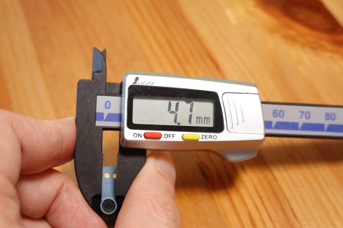YAMAHA TW-E3Bのノズルくびれ部の寸法4.7mm