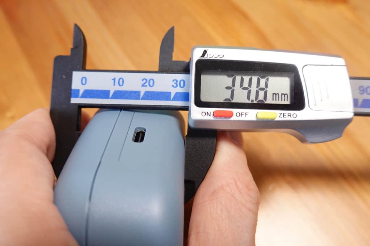 YAMAHA TW-E3Bの充電ケースの高さ34.8mm