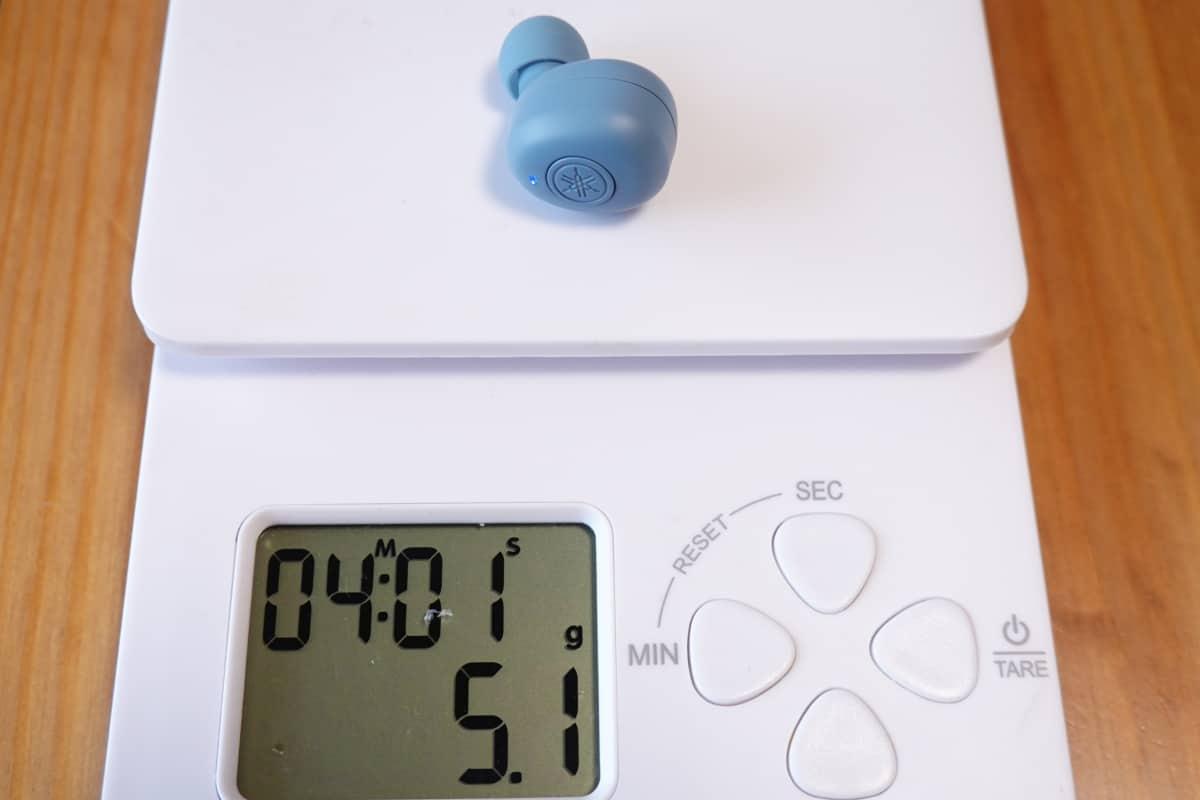 YAMAHA TW-E3Bの本体の重さ5.1g