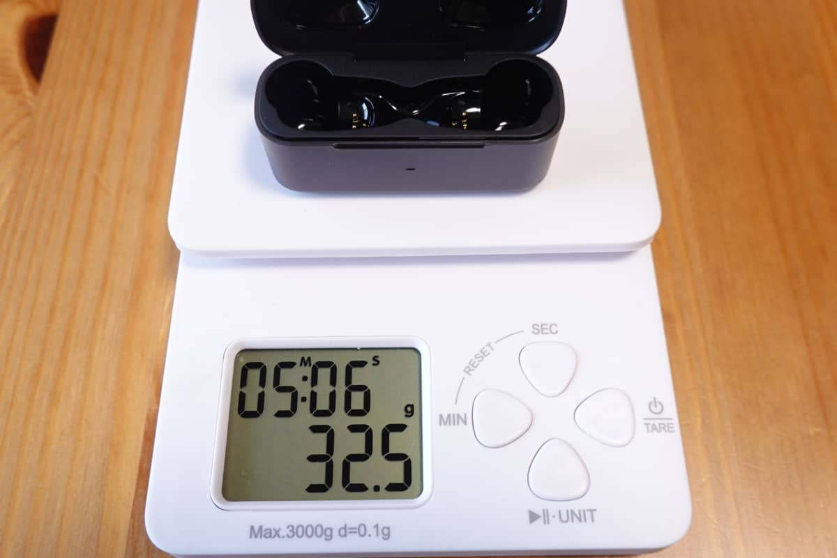 EarFun Free Pro充電ケースの重さは32.5g