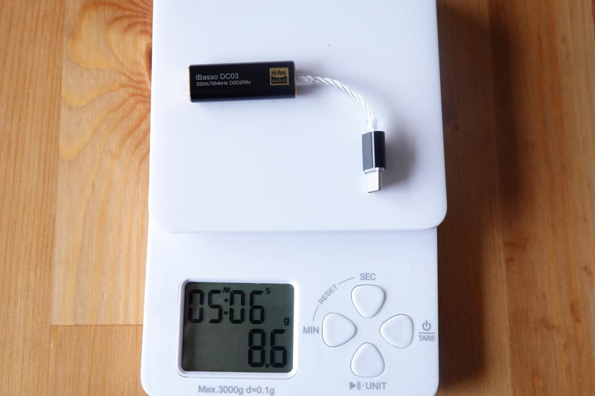 iBasso DC03の重さは8.6g