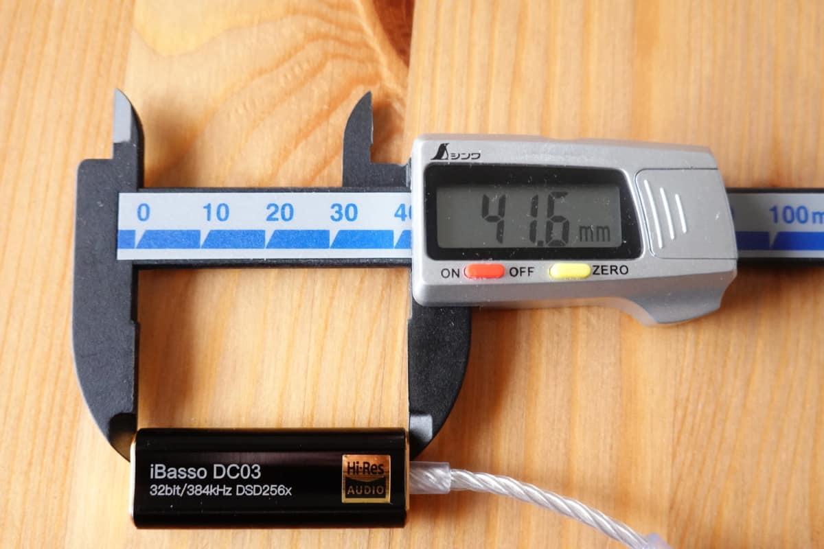 iBasso DC03の横幅41.6mm