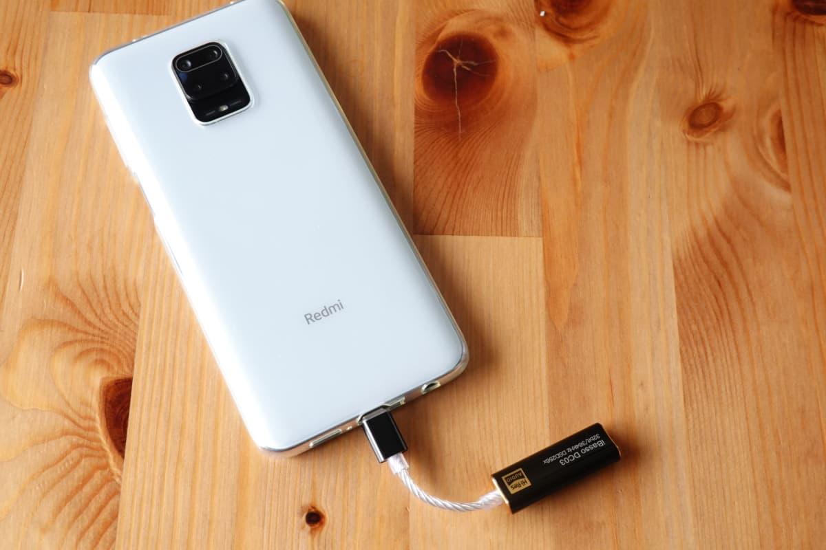 iBasso DC03とXiaomi Redmi Note 9sを接続