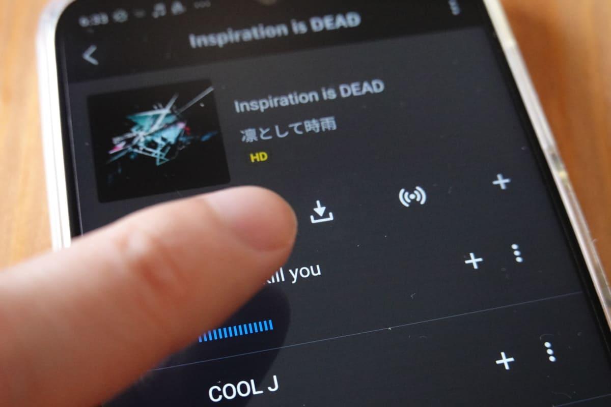 デバイスにハイレゾ音源をダウンロードしてオフラインで聴くことができる