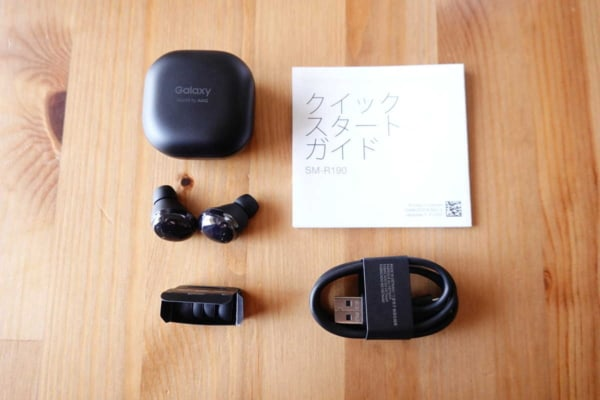 Galaxy Buds Proの付属品はイヤーピース、USB-Cケーブル、マニュアル